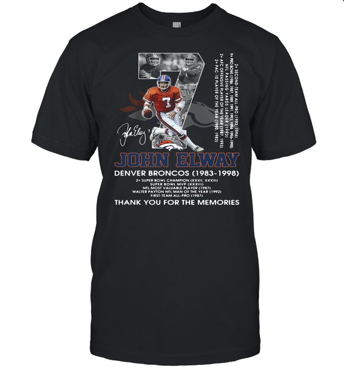 07 John Elway Denver Broncos 1983 1998 thank you for the memories signature shirt