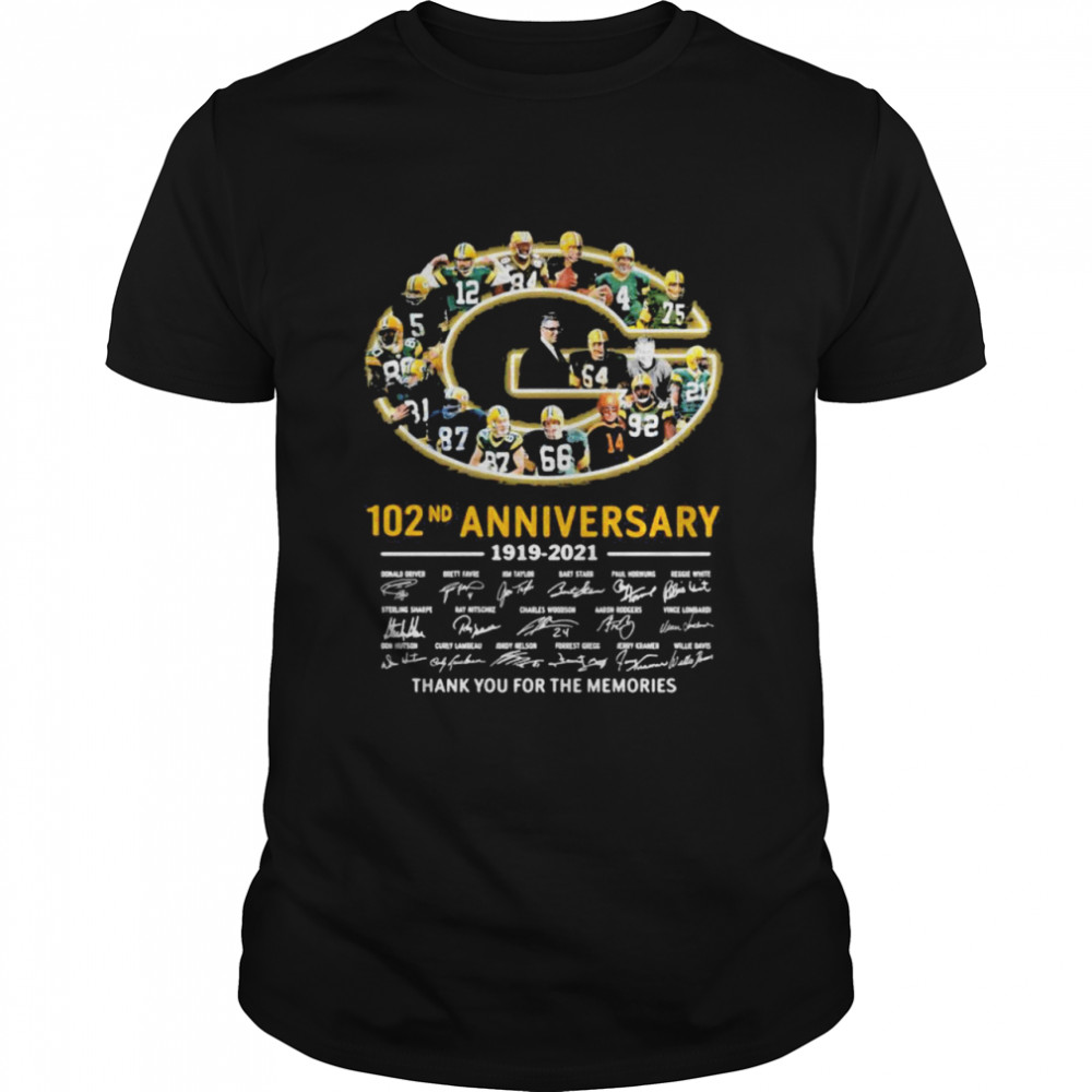 102nd Anniversary 1919 2021 Green Bay Packers Thank You For The Memories Signature shirt