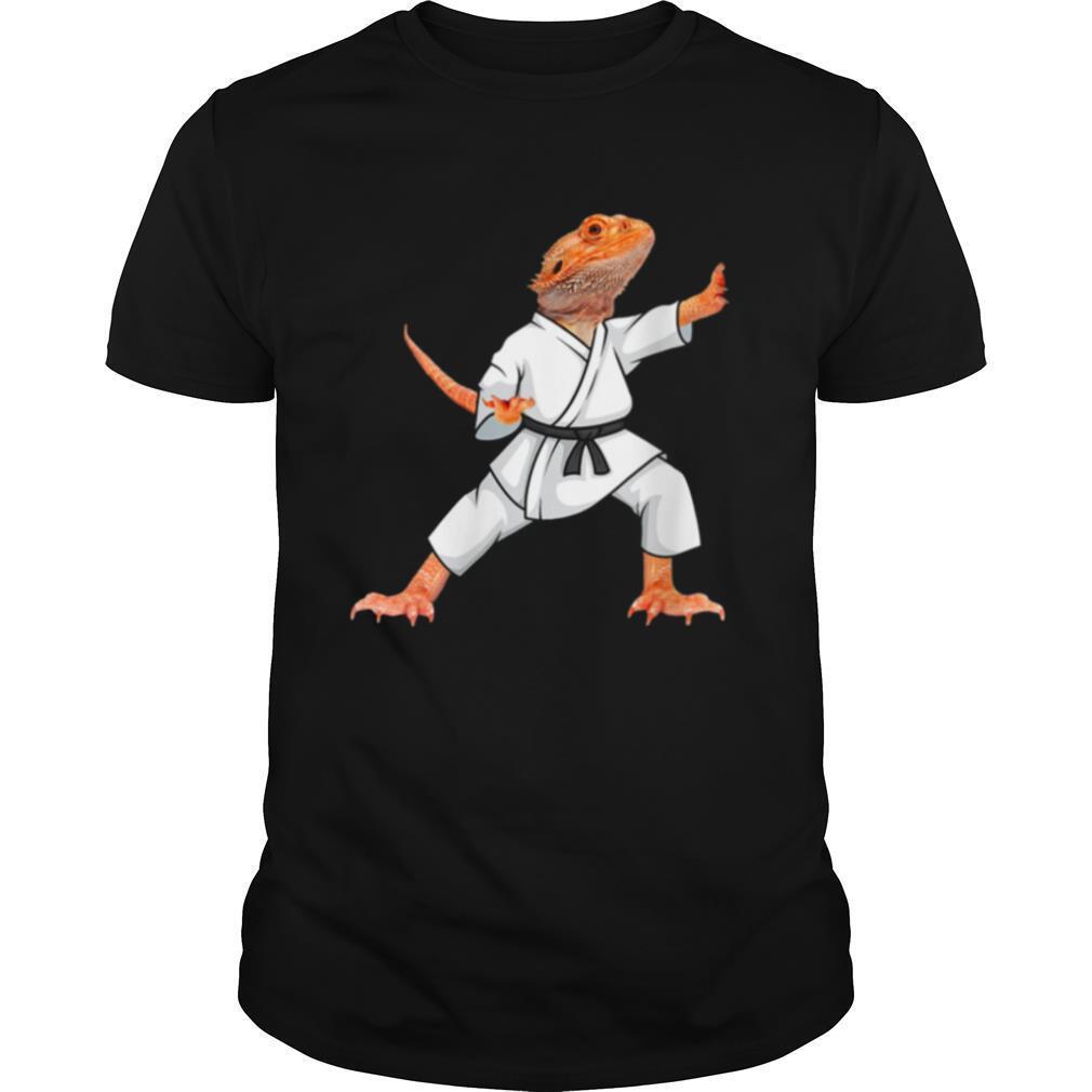 Bearded dragons doing Karate Samurai Ninja lizard shirt