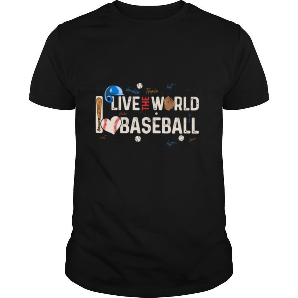 Live The World I Love Baseball Heart Signature shirt