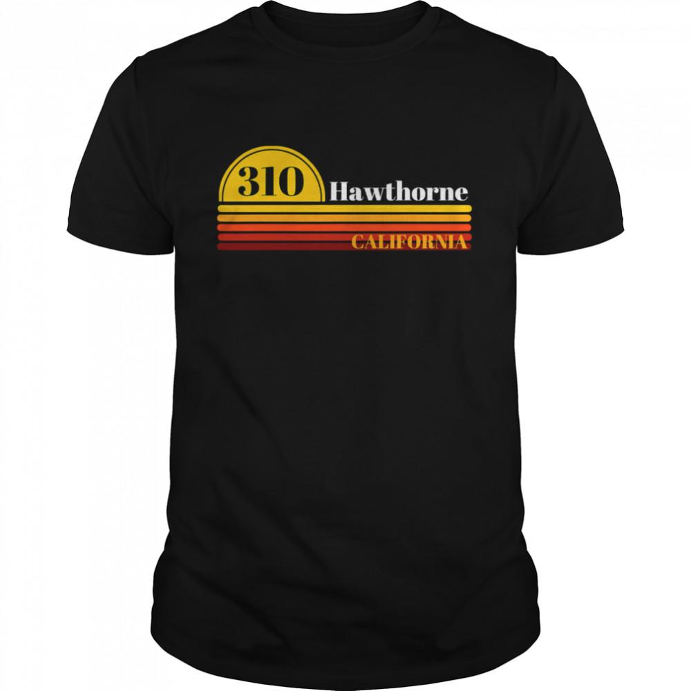 310 Hawthorne California Vintage Sunset With Area Code shirt