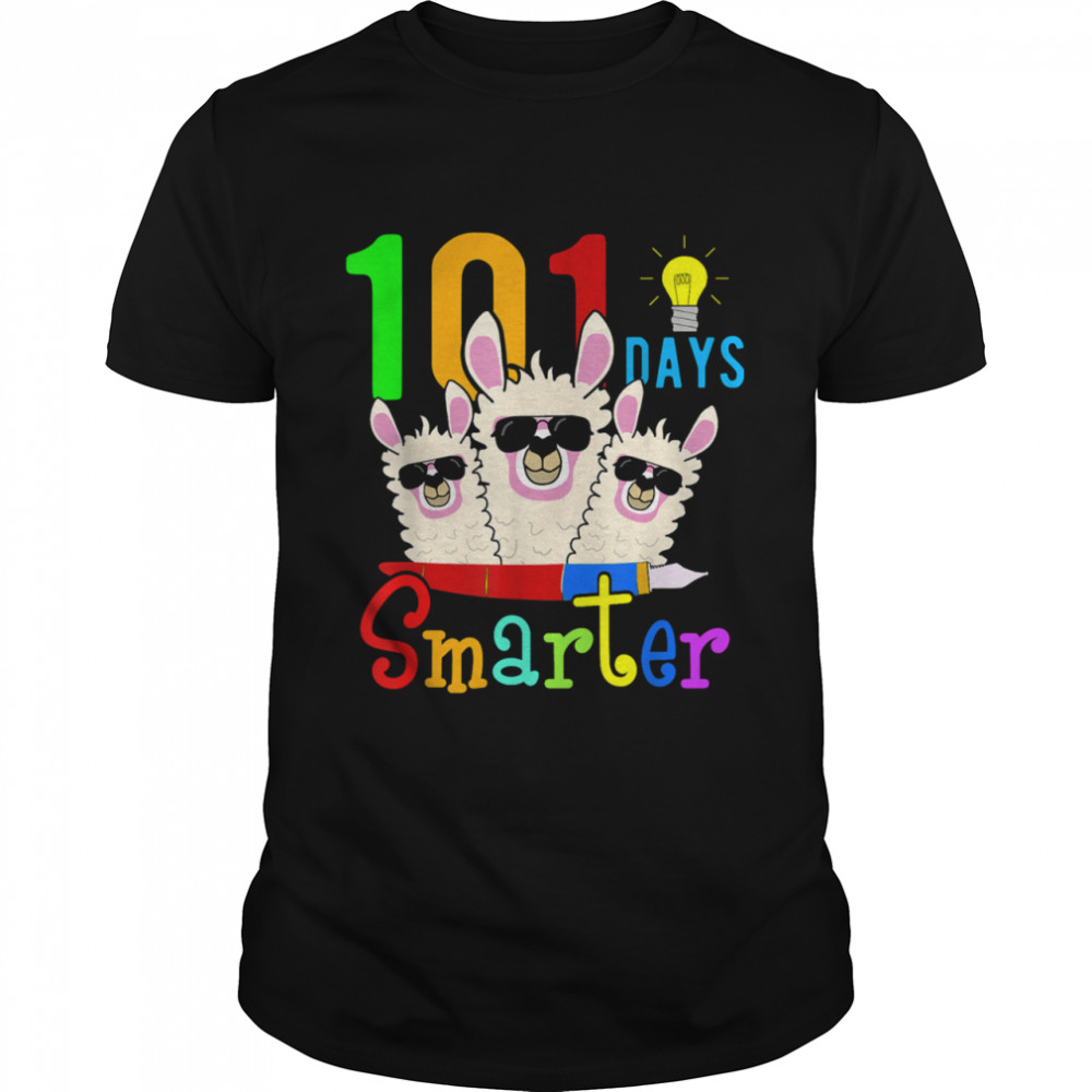 101 Days Smarter Teacher Llama Happy 100th Day Of School shirt