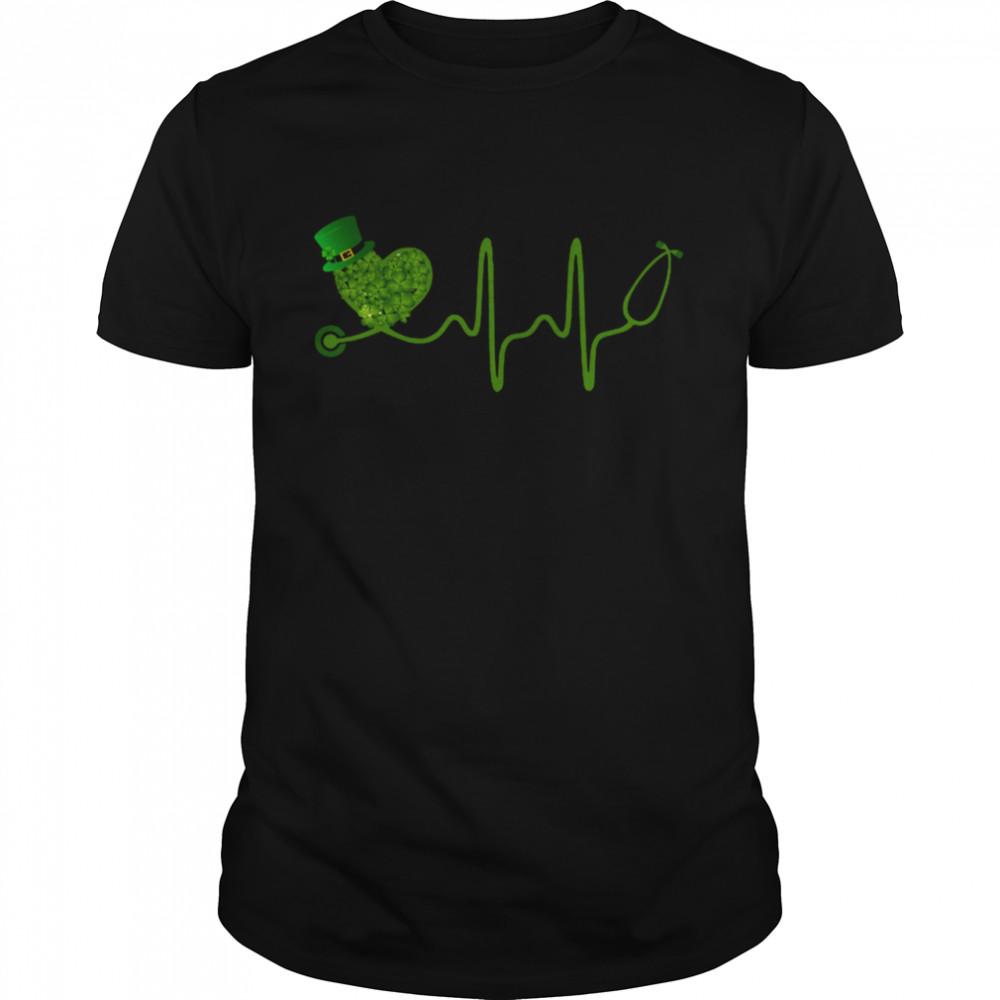 Nurse Stethoscope Shamrock Matching St Patricks Day shirt