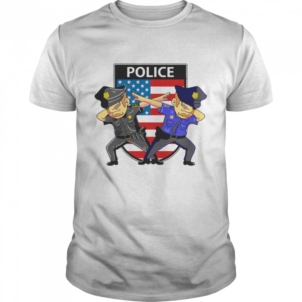 Police Cute Dabbing Police Mens American Flag shirt