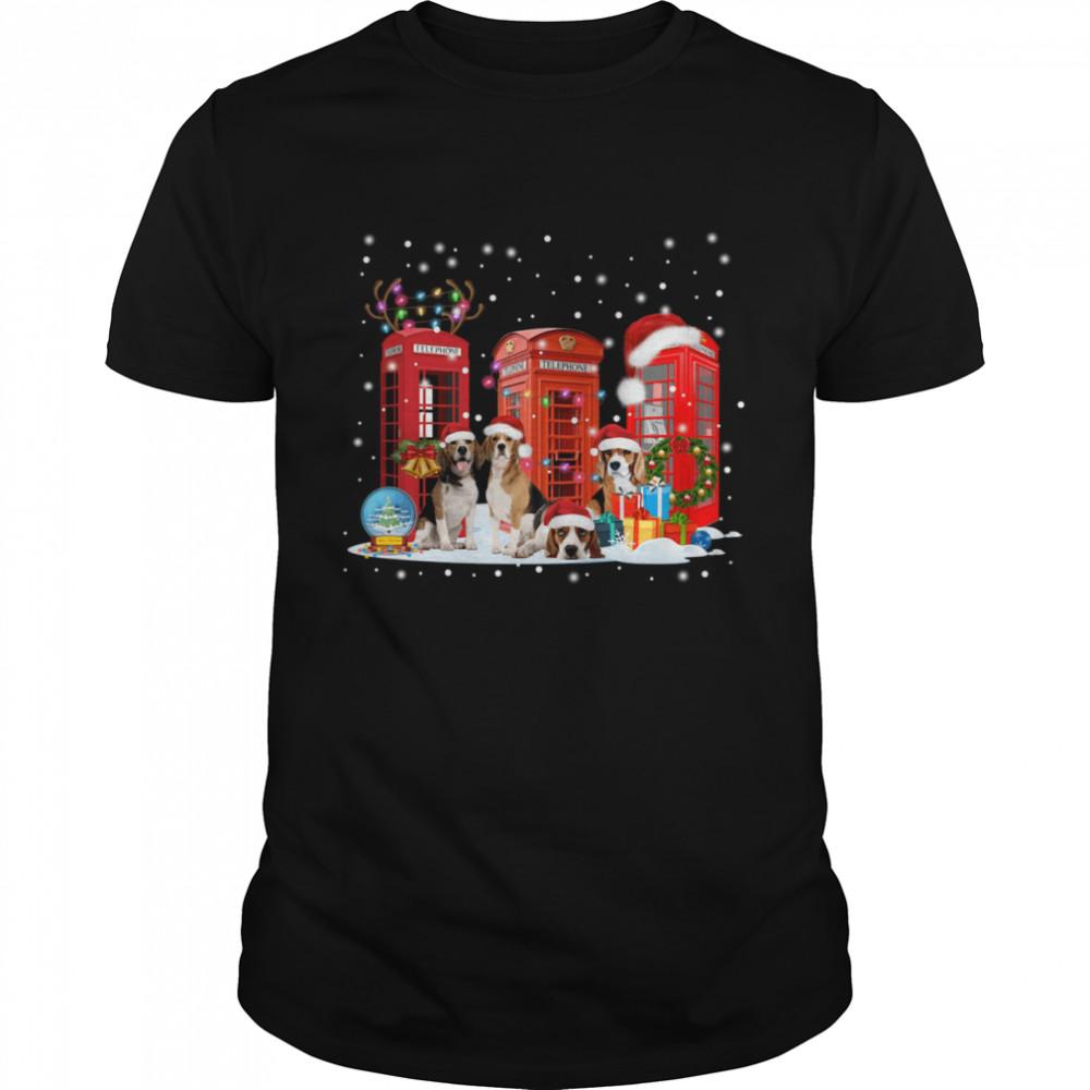 Beagle Red Telephone Box Christmas Dog Lovers Xmas Gift Beagle Red Telephone Box Christmas shirt