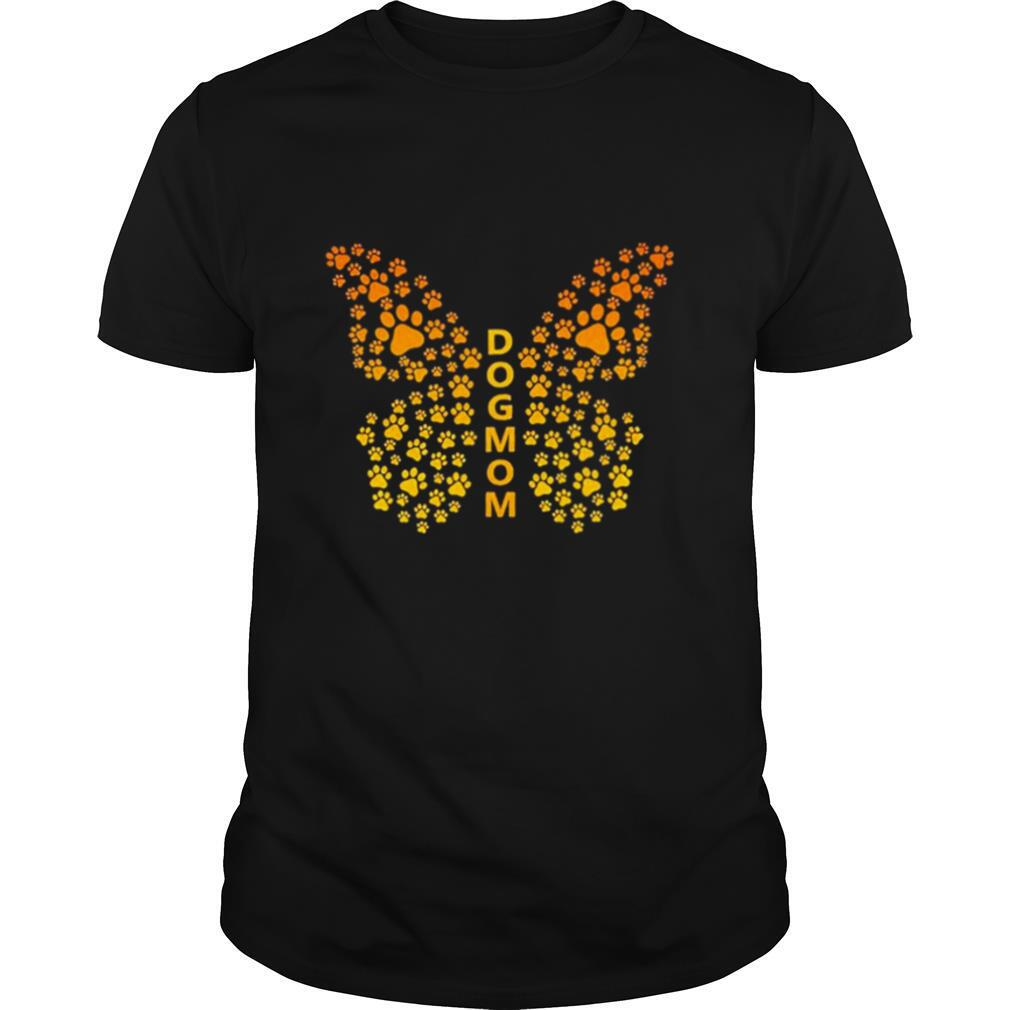 Dog mom butterfly paw print pet dog lovers shirt