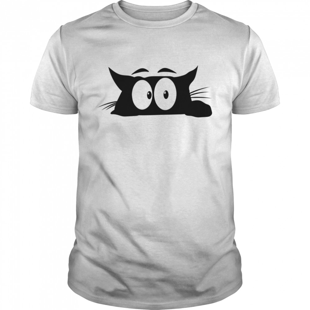 The black cat with white eyes looks bored shirt