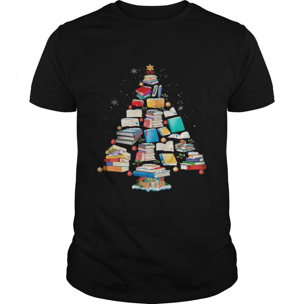 Books christmas tree shirt