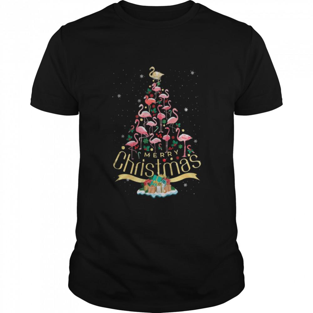 Flamingos christmas tree shirt