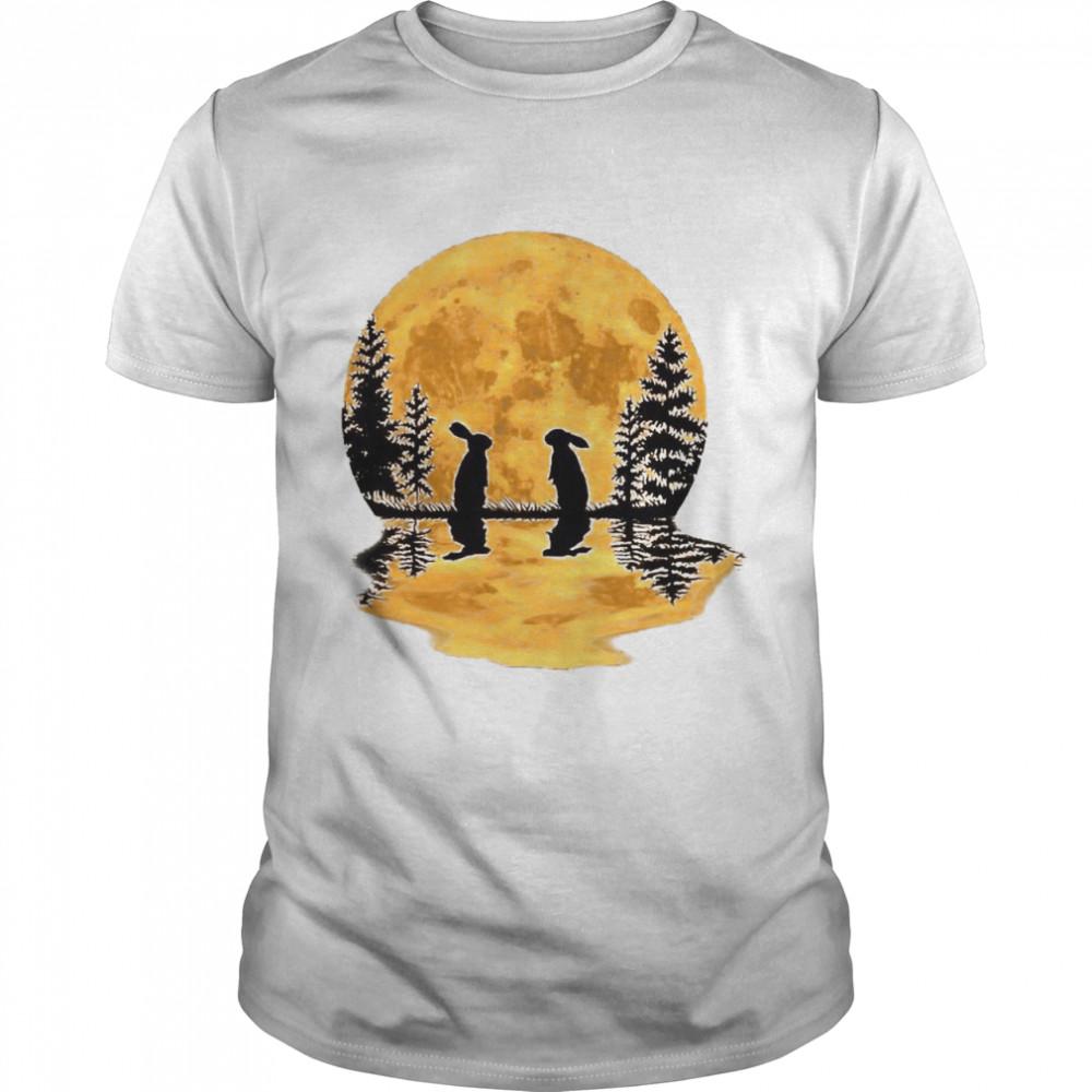 Lovely Bunny Rabbit Rabbits Moon Night Sky Design shirt