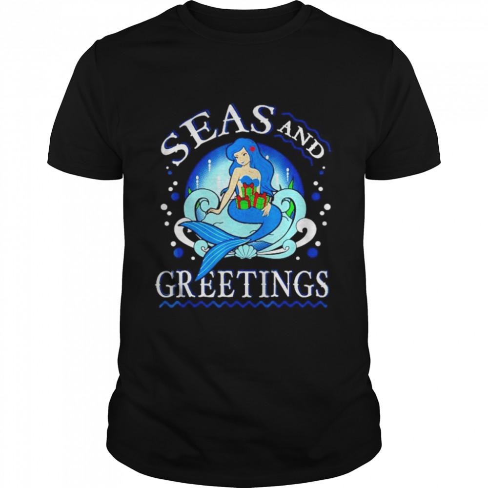 Mermaid seas and greetings Christmas shirt