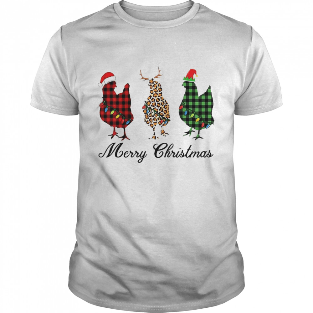Merry Christmas Three Chicken Buffalo Leopard Plaid Matching Raglan Baseball shirt
