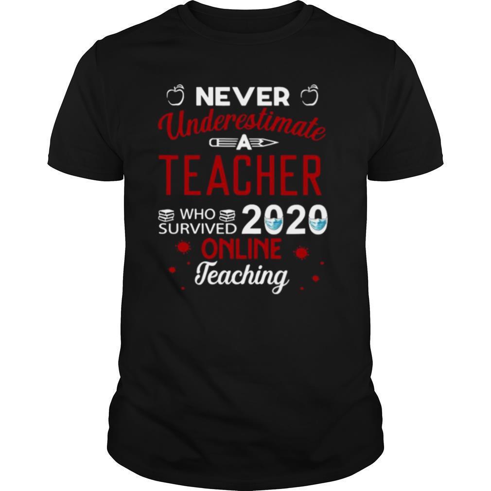 never underestimate a Teacher who survived 2020 face mask online teaching shirt