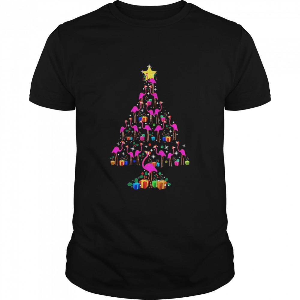 Pink Flamingos Merry Christmas Tree Gift shirt