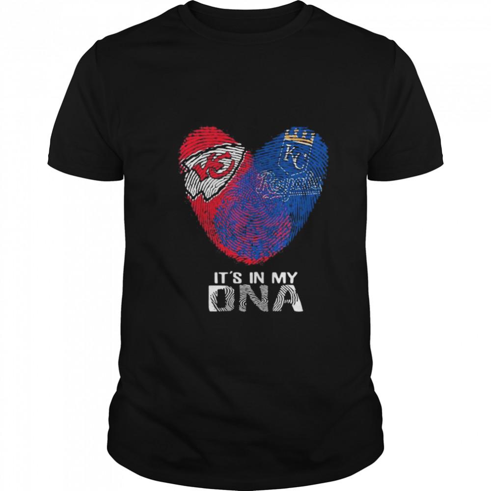 Kansas City Chiefs And Kansas City Royals It's In My Dna Heart shirt