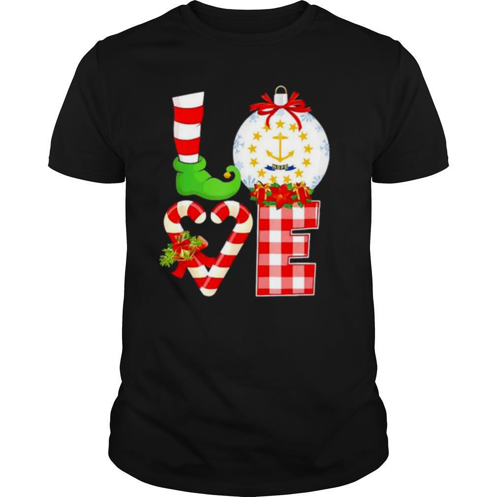 Love flag of Rhode Island Christmas shirt