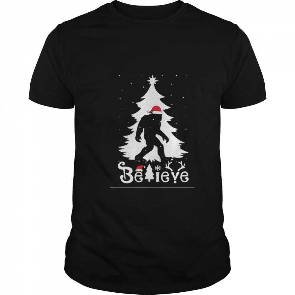 Santa Bigfoot Believe Ugly Christmas shirt