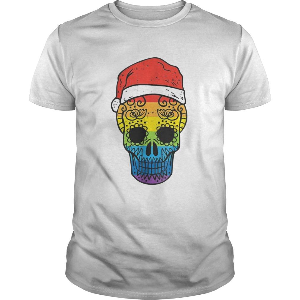 Gay Pride Santa Hat Sugar Skull LGBT Christmas Mexican shirt