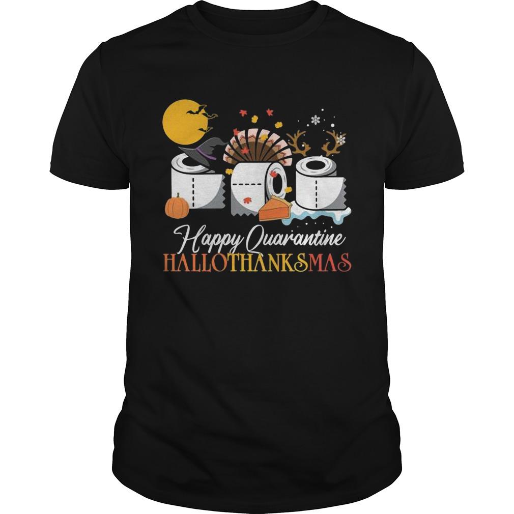 Hallothanksmas Happy Quarantine 2020 Thanksgiving Moon Hat Witch Paper Toilet shirt