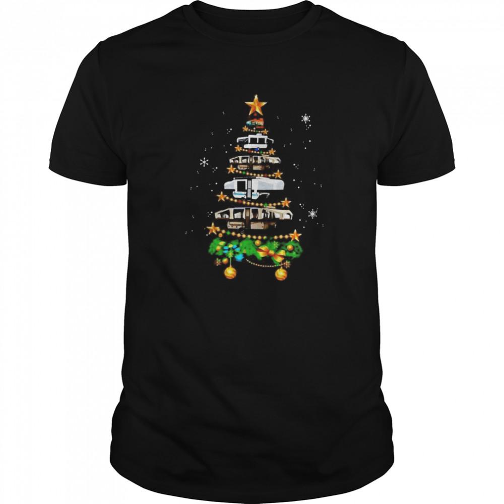 Camping Car Christmas tree shirt
