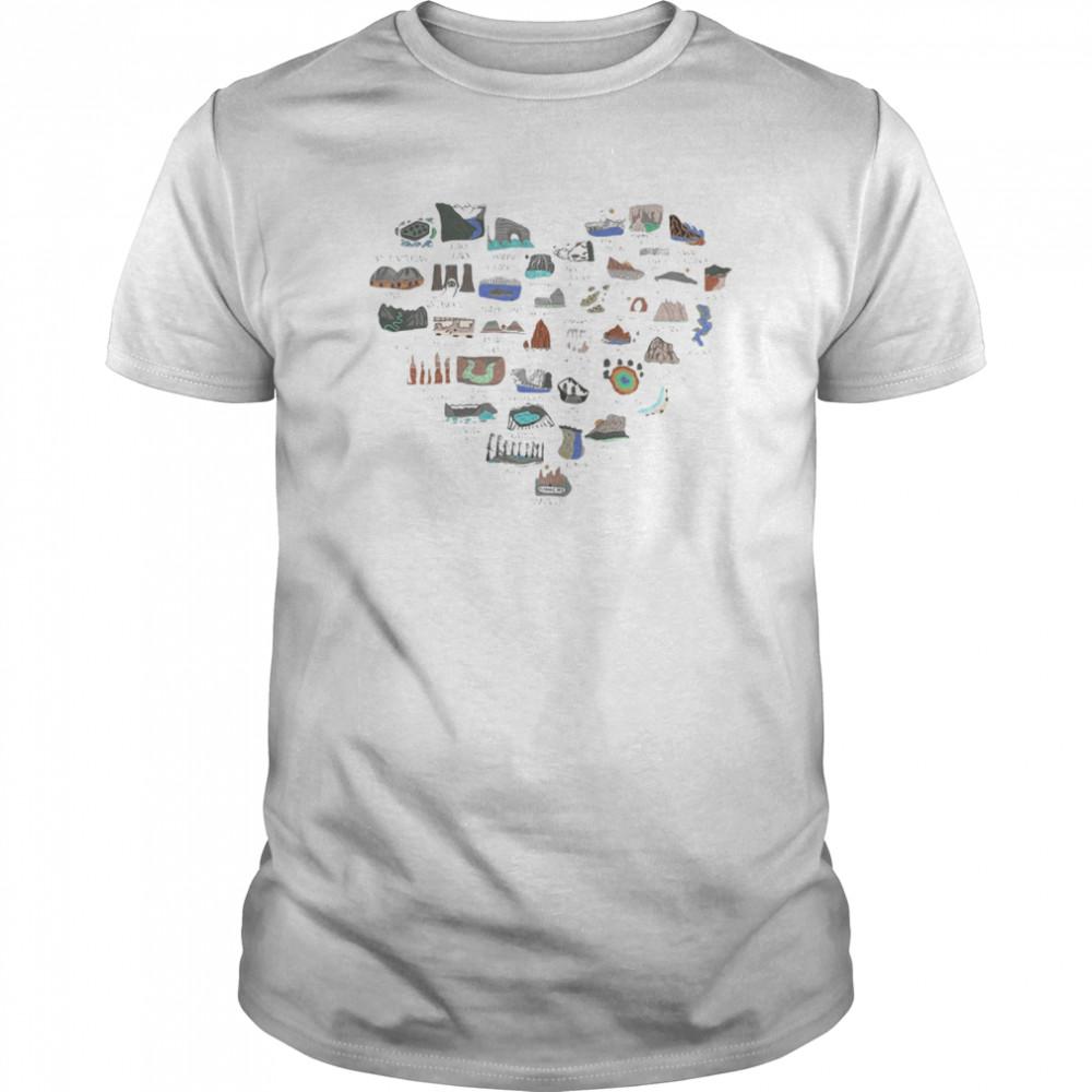Love area mountains heart shirt