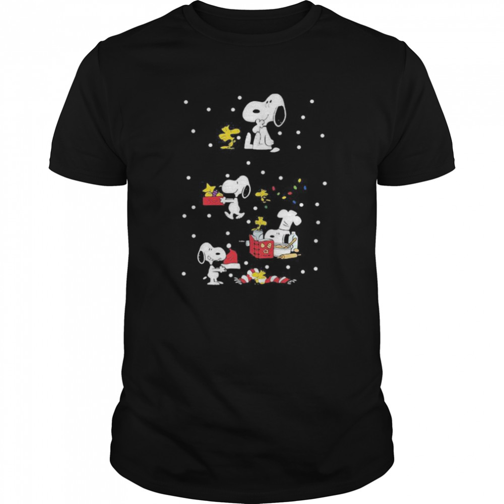 Snoopy and woodstock merry christmas shirt