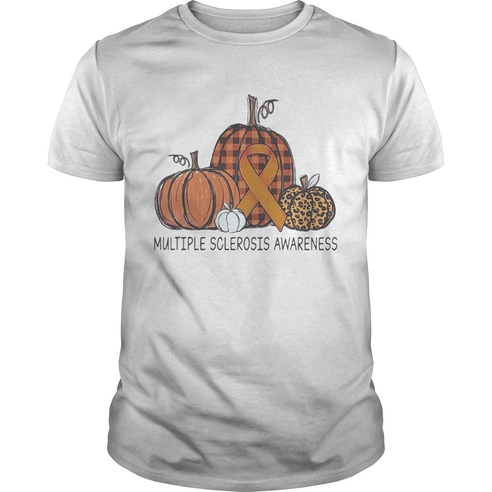 Halloween pumpkins multiple sclerosis awareness leopard shirt