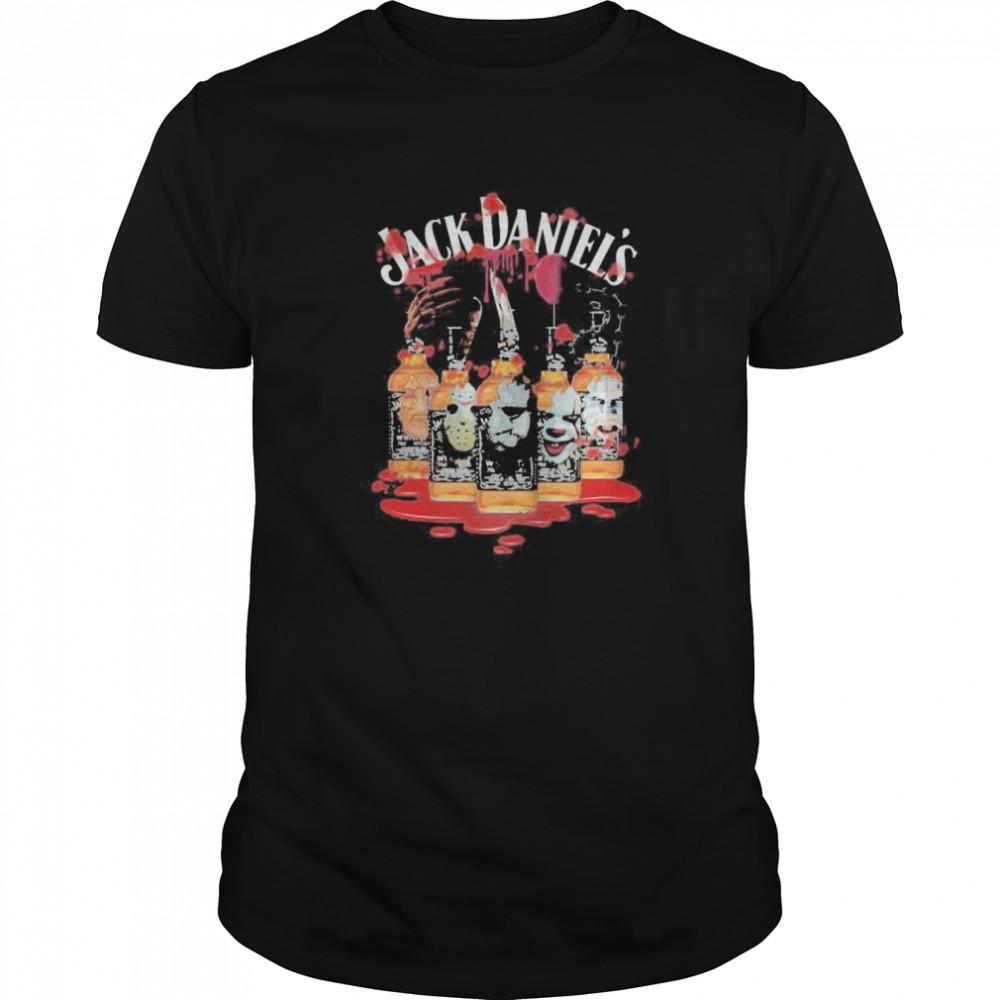 Halloween horror characters jack daniels shirt