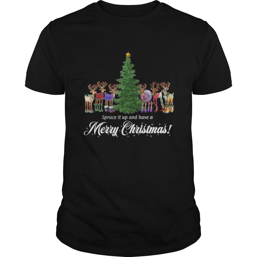 Whimsical Reindeer Spruce Tree Merry Christmas shirt