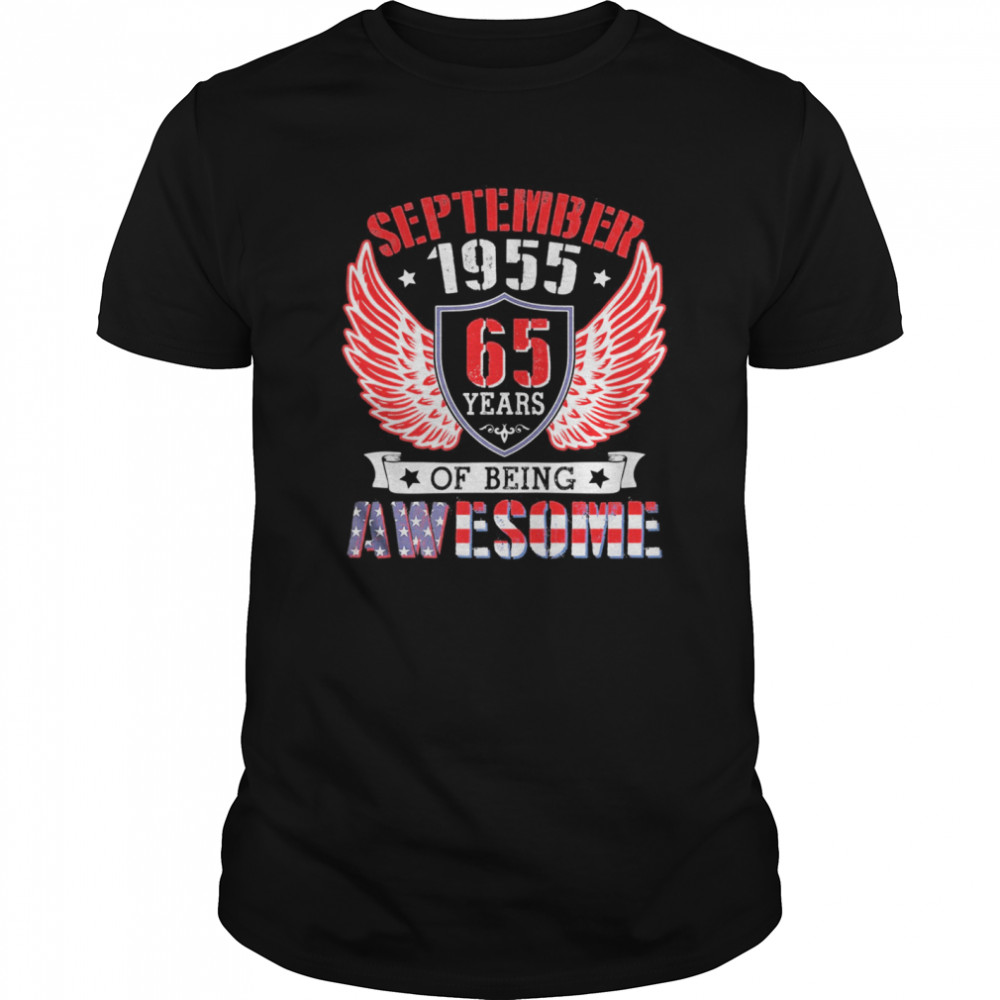 September 1955 Happy Birthday 65 Years Of Being Awesome Me shirt