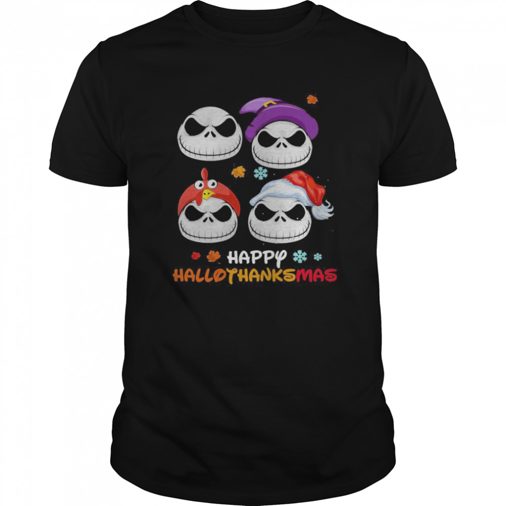 Skellington Halloween And Merry Christmas Happy Hallothanksmas shirt