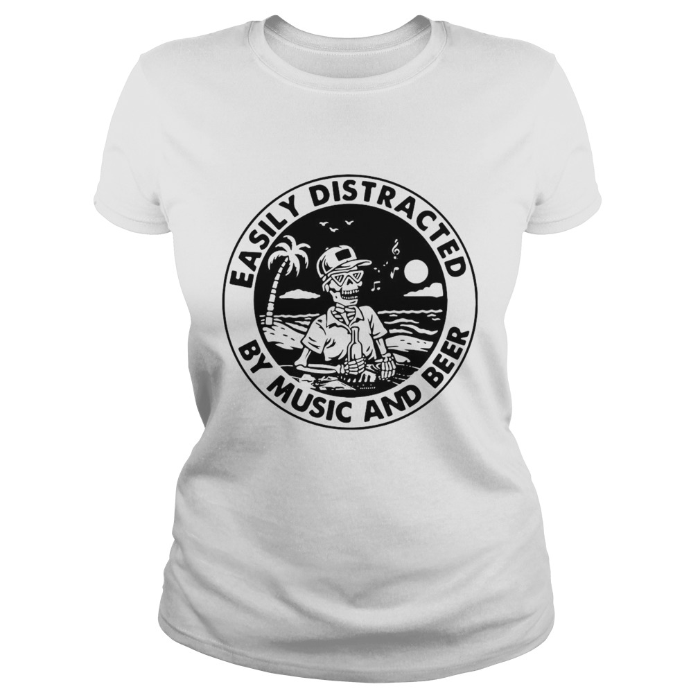 Skeleton Easily Distracted By Music And Beer shirt