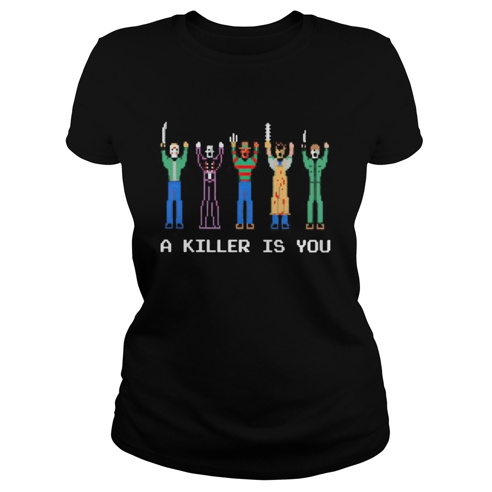 Halloween horror characters a killer is you lego shirt