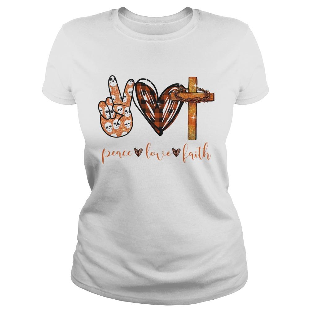 Peace Love Faith Hand Heart Cross shirt