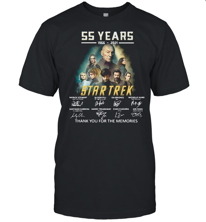 55 years 1966-2021 Star Trek thank you for the memories signatures shirt