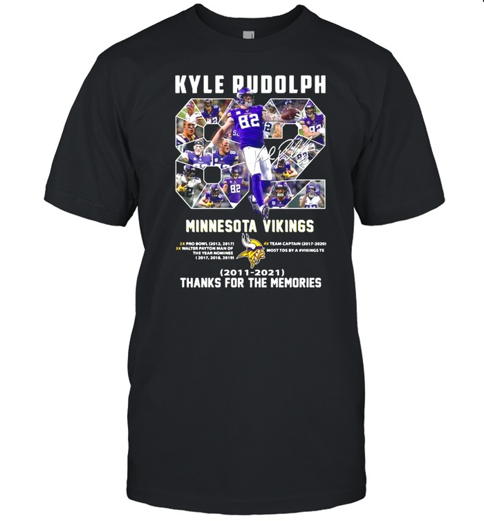 82 Kyle Rudolph Minnesota Vikings 2011 2021 Signature Thanks For The Memories shirt