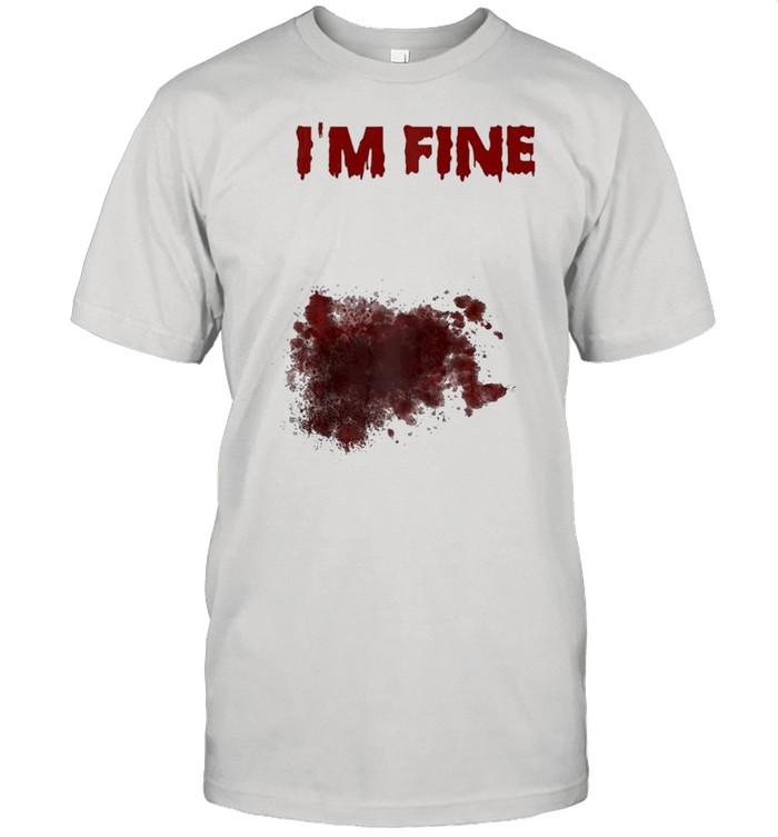 I'm Fine Bloody Zombie Bite Scary Halloween Costume Raglan Baseball Shirt
