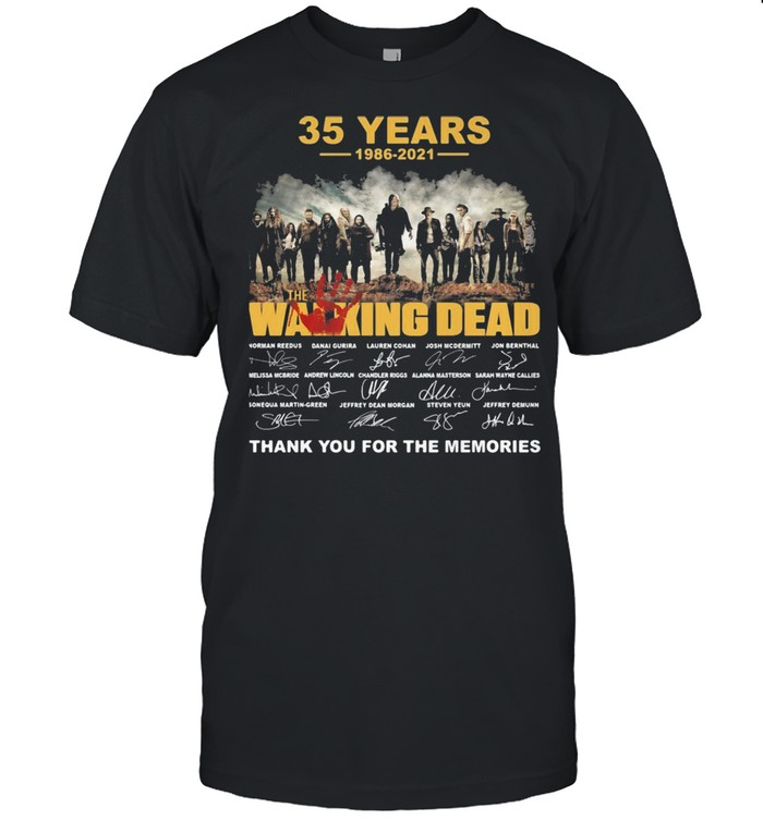 35 years 1986 2021 the Walking Dead signatures thank you for the memories shirt