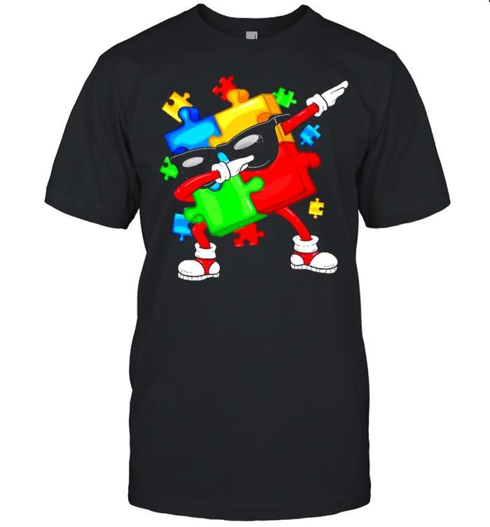 Dabbing Puzzle Pieces National Autism Awareness shirt