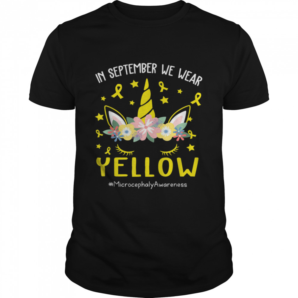 I Wear yellow Unicorn Microcephaly Awareness shirt