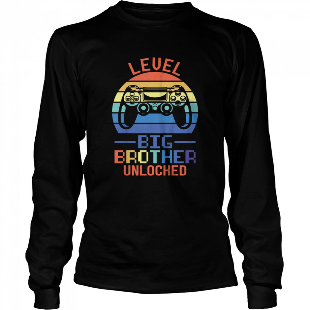 Kids Level Big Brother unlocked Big Brother Brother shirt Long Sleeved T-shirt