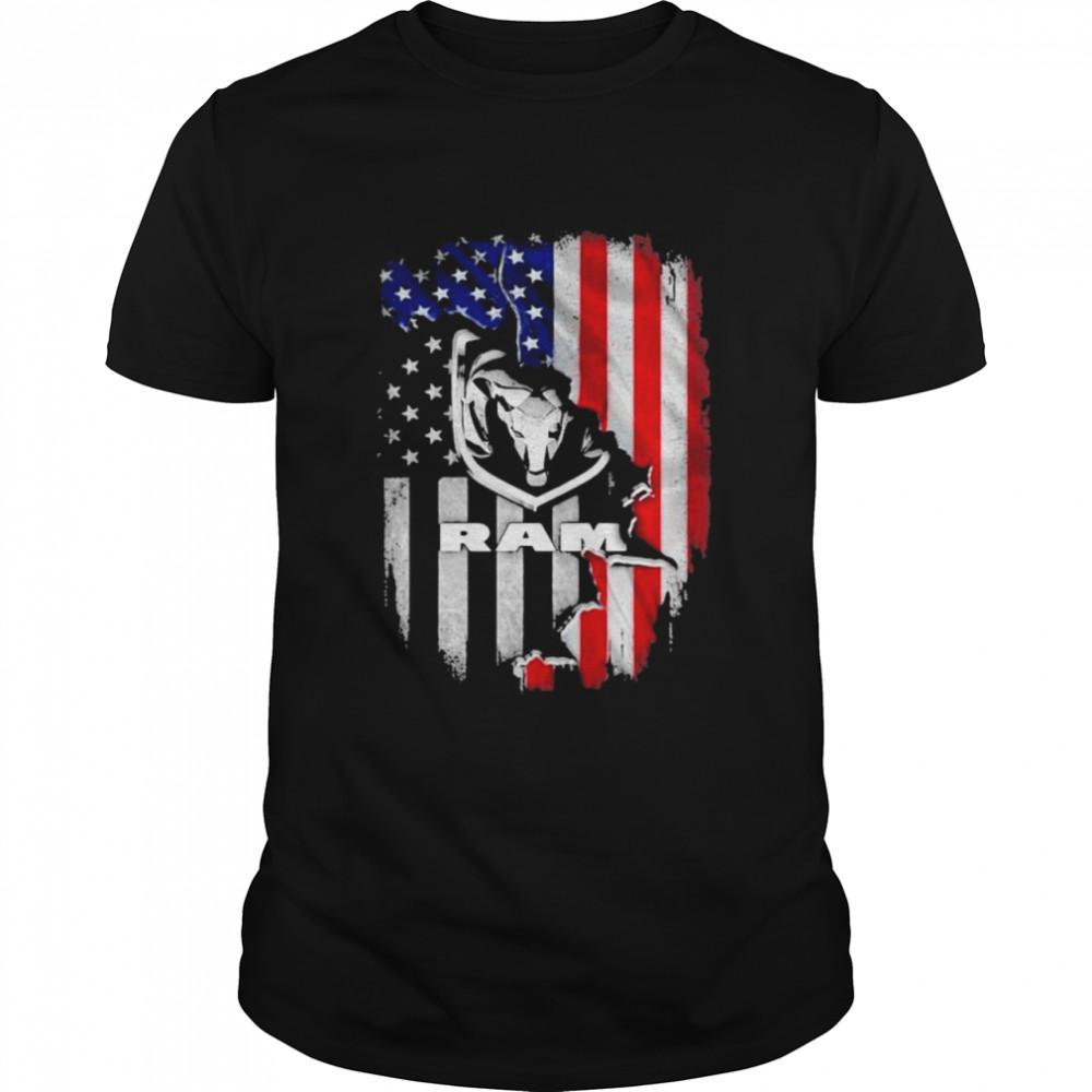 American Flag With Logo Ram Trucks Shirt