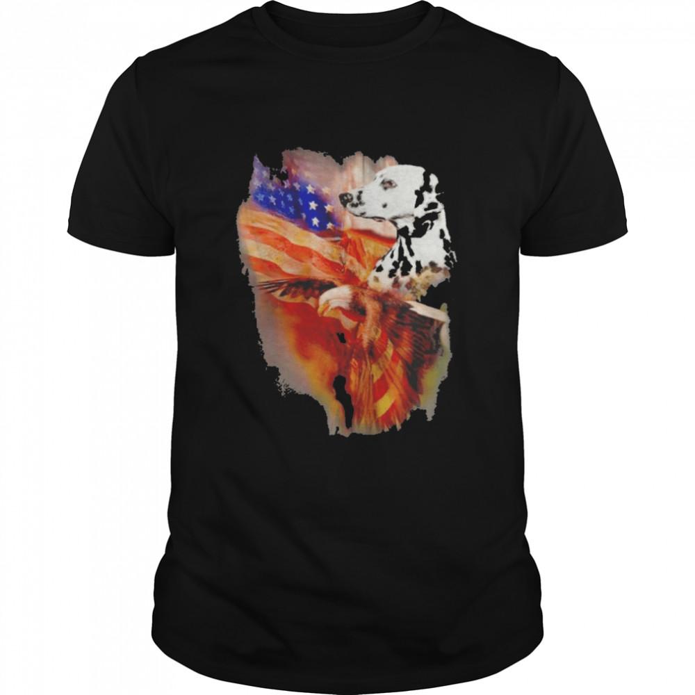 Eagle Dalmatian American Wings Happy 4th Of July Shirt