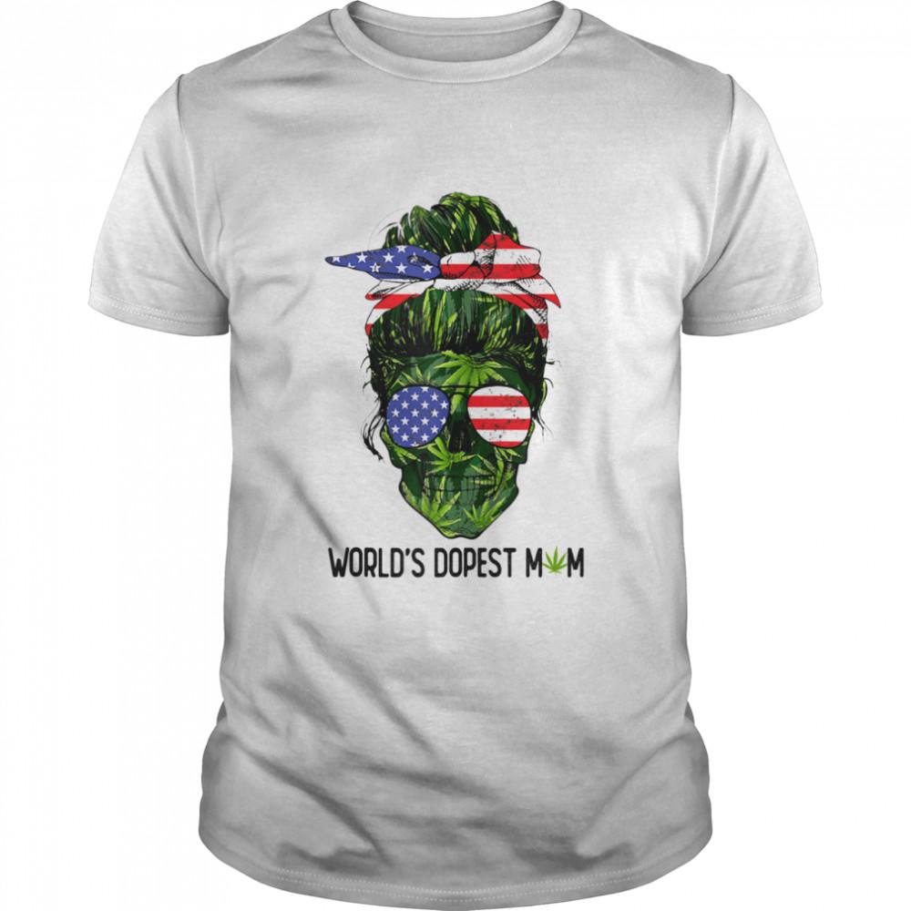 World's Dopest Mom American Flag Skull Lady Weed Shirt