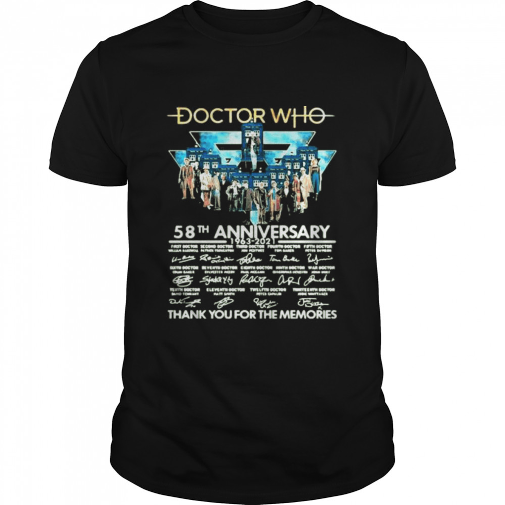 Doctor Who 58th Anniversary 1963 2021 Thank You For The Memories Signature Shirt