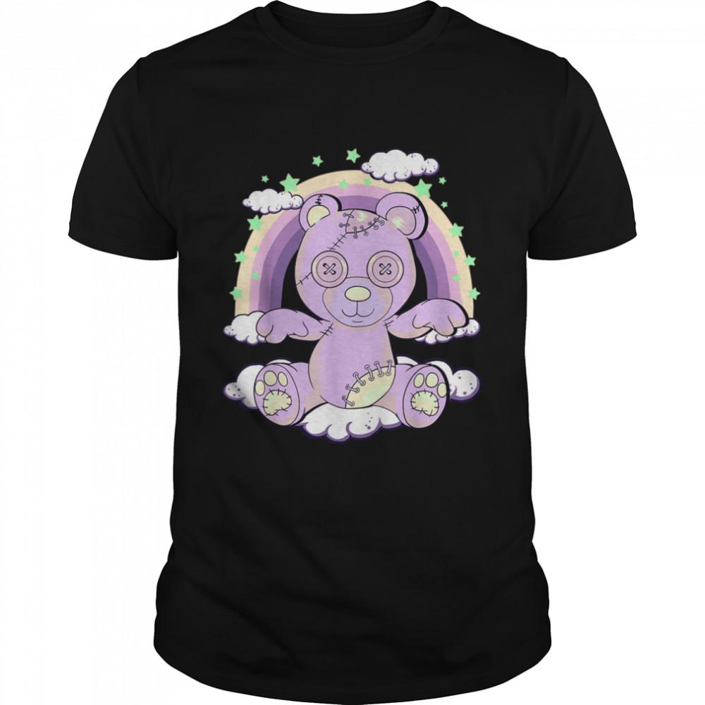 Kawaii Pastel Goth Creepy Teddy Bear on Rainbow Clouds Shirt