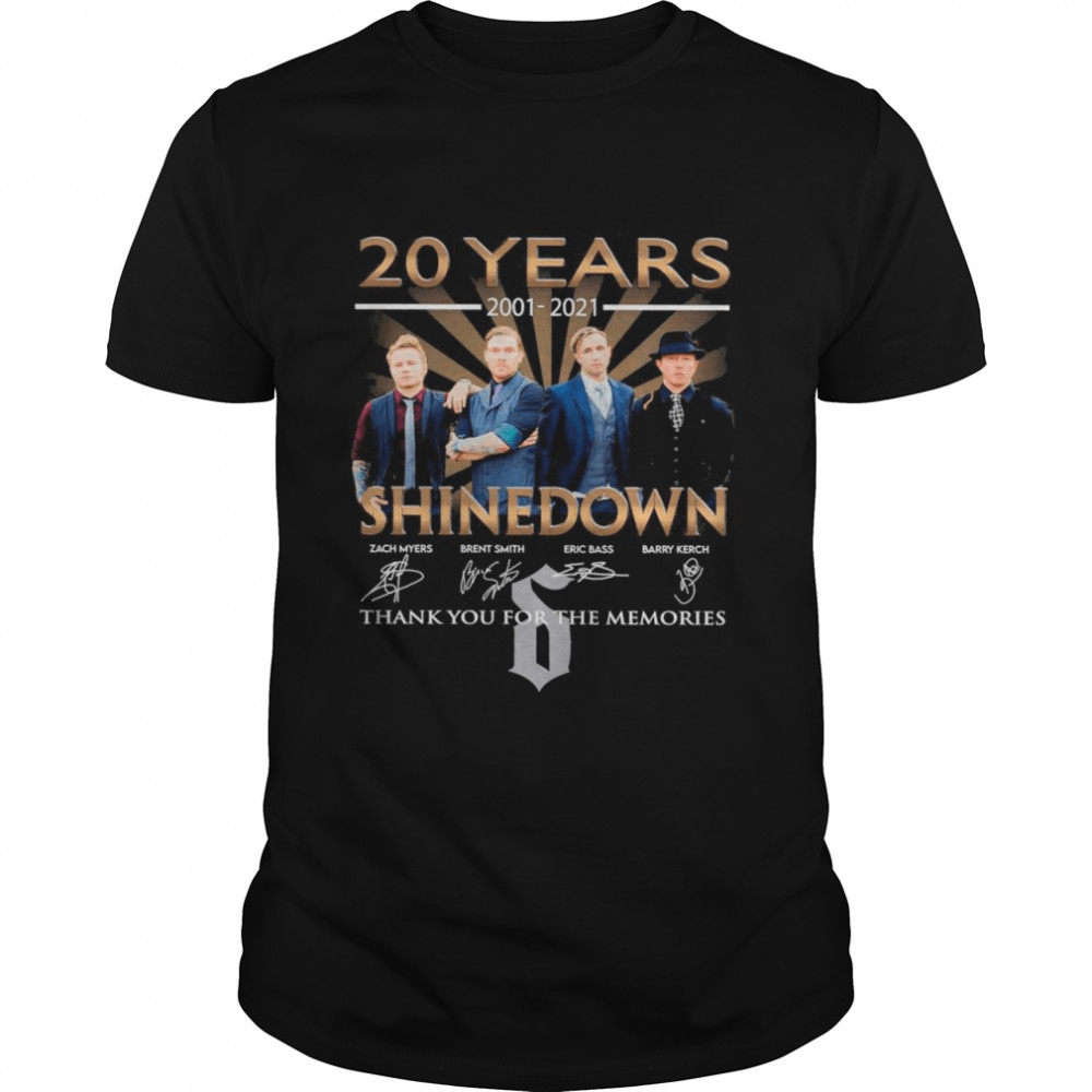 20 Years 2001 2021 Of The Shinedown Band Signatures Thank You For The Memories shirt