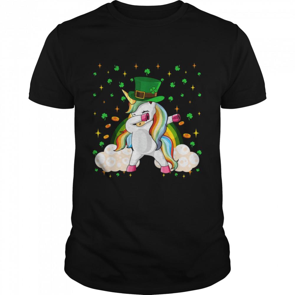 Boys Girls Dabbing St Patricks Dab Unicorn Shirt