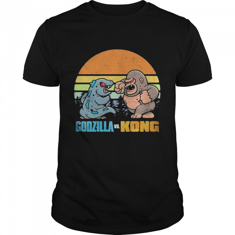 Chibi Godzilla Vs Kong Movie 2021 Vintage Retro shirt