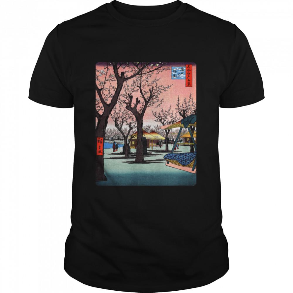 Famous Vintage Japanese Art Plum Garden Hiroshige Stylish Shirt